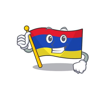 Cartoon flag armenia isolated in character thumbs up Reklamní fotografie - 133895410