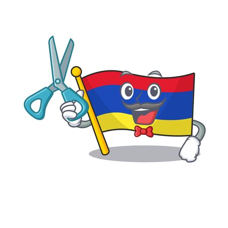 Flag armenia cartoon with in barber character