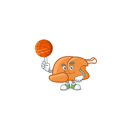 Roast turkey food cartoon with character holding basketball vector illustration