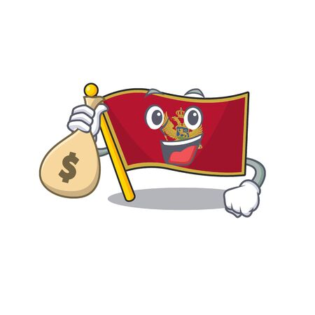 Cartoon flag montenegro isolated in character holding money bag