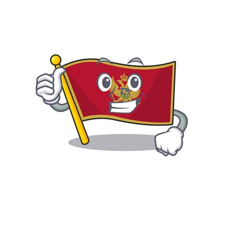 Thumbs up cartoon flag montenegro in with mascot Ilustrace