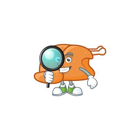 Cartoon roast turkey in the character shape detective vector illustration