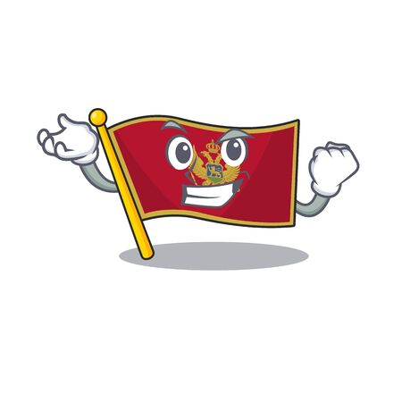 Successful cartoon flag montenegro in with mascot