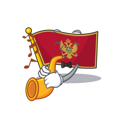 Mascot flag montenegro with in with trumpet character