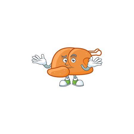 Cartoon roast turkey in the character shape grinning vector illustration Illustration