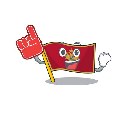 Flag montenegro cartoon with in foam finger character . Vector illustration