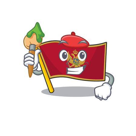 Cartoon flag montenegro isolated in character painter . Vector illustration