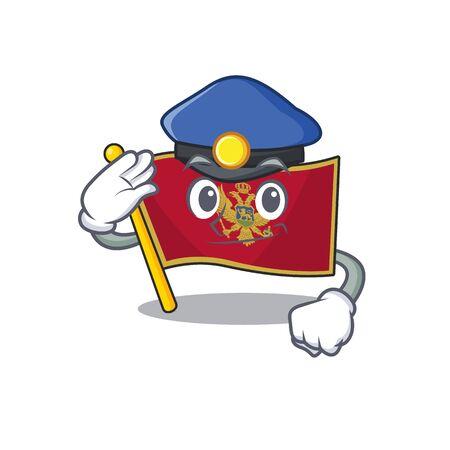 Cartoon flag montenegro isolated in character police. Vector illustration Ilustración de vector