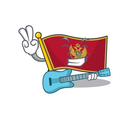 Mascot flag montenegro with in with guitar character. Vector illustration