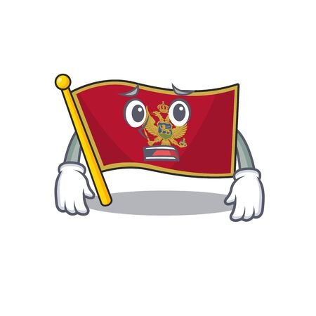 Mascot flag montenegro with in afraid character. Vector illustration