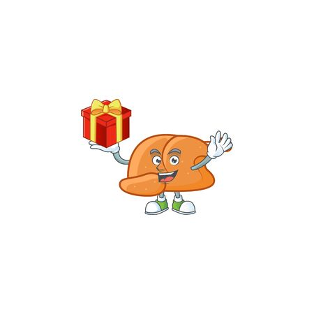 Cartoon roast turkey ripe with character bring gift vector illustration