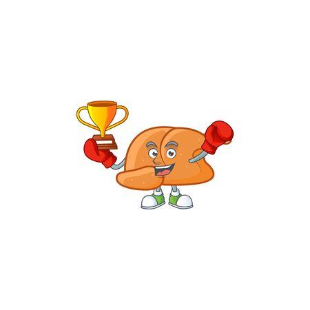 Cartoon roast turkey ripe with character boxing winner vector illustration Vektorové ilustrace