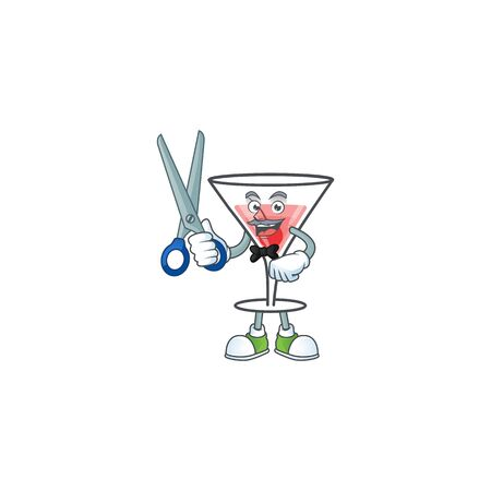 Cocktail sweet cartoon character with mascot barber vector illustration