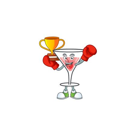 Sweet cocktail isolated with the mascot boxing winner vector illustration 向量圖像