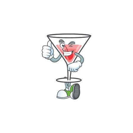 Character a thumbs up in the cartoon cocktail vector illustration