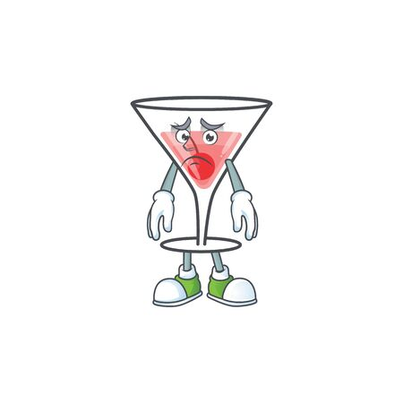 Cartoon fresh cocktail with the afraid character vector illustration Ilustração