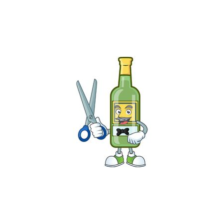Cartoon whiskey bottle with character shape barber