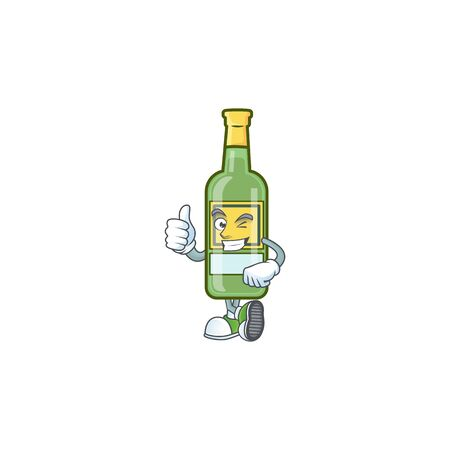 Sweet whiskey cartoon character with thumbs up mascot