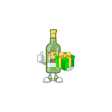 Character a holding gift in the whiskey cartoon