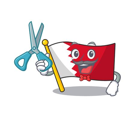 Cartoon flag bahrain isolated in character barber . Vector illustration