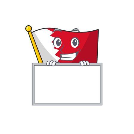 Drapeau de dessin animé bahreïn isolé dans le personnage souriant avec planche. Illustration vectorielle