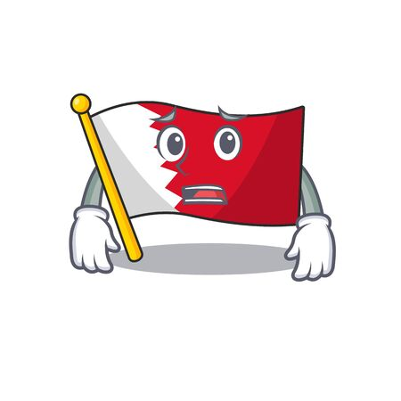 Flag bahrain cartoon with in afraid character . Vector illustration