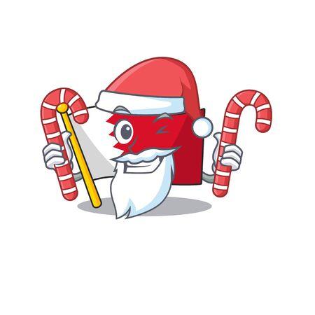 Cartoon flag bahrain isolated in character santa bring candy . Vector illustration