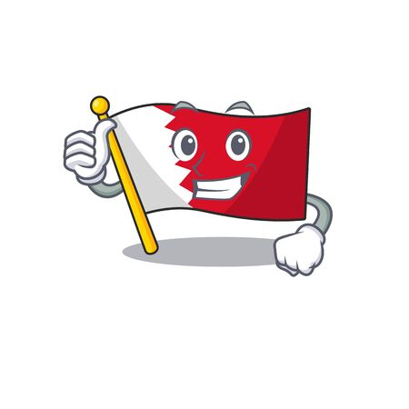 Mascot flag bahrain with in thumbs up character . Vector illustration