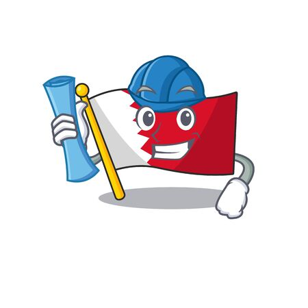Mascot flag bahrain with in architect character . Vector illustration