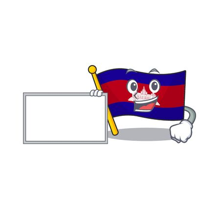Flag cambodia cartoon with in with board character . Vector illustration  イラスト・ベクター素材