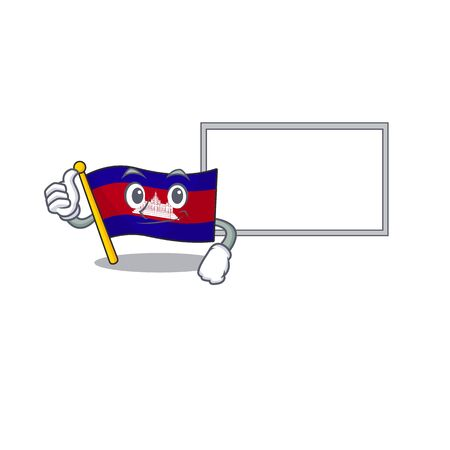Flag cambodia cartoon with in thumbs up with board character . Vector illustration