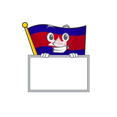 Flag cambodia cartoon with in grinning with board character . Vector illustration