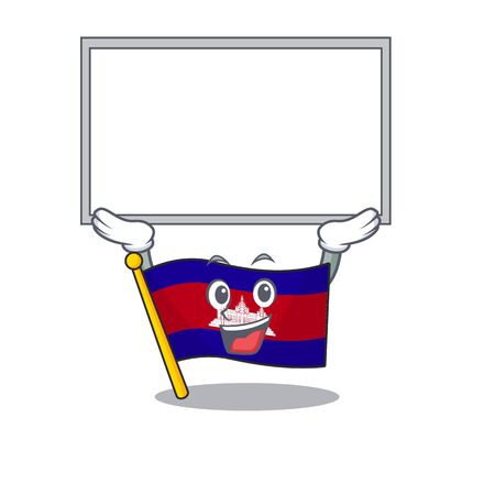Flag cambodia cartoon with in up board character . Vector illustration  イラスト・ベクター素材