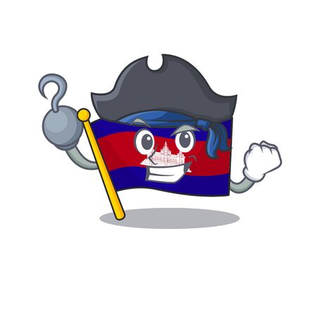Flag cambodia cartoon with in pirate character . Vector illustration