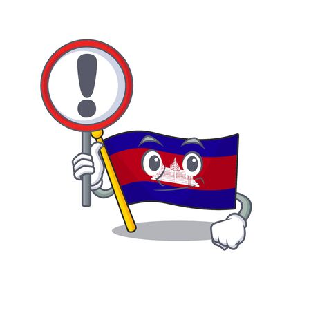Flag cambodia cartoon with in with sign warning character . Vector illustration