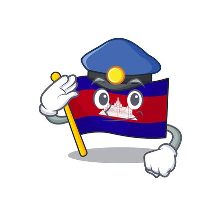 Flag cambodia cartoon with in police character . Vector illustration