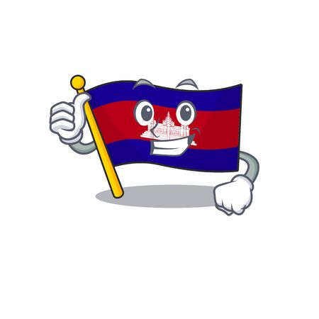 Thumbs up cartoon flag cambodia in with mascot . Vector illustration