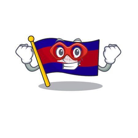 Super hero cartoon flag cambodia in with mascot . Vector illustration  イラスト・ベクター素材