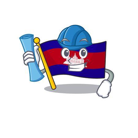 Architect cartoon flag cambodia in with mascot . Vector illustration