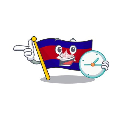 With bring clock cartoon flag cambodia in with mascot . Vector illustration