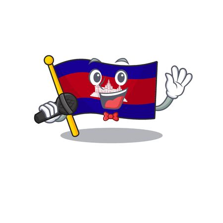 Cartoon flag cambodia isolated in character singing
