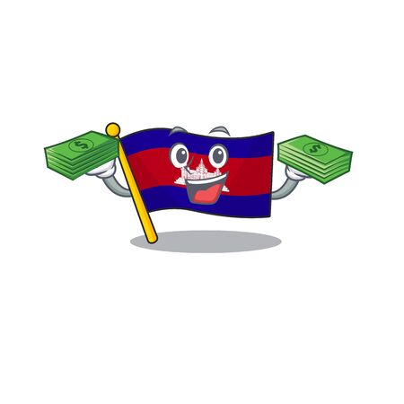 Cartoon flag cambodia isolated in character holding money