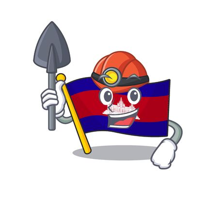 Cartoon flag cambodia isolated in character miner