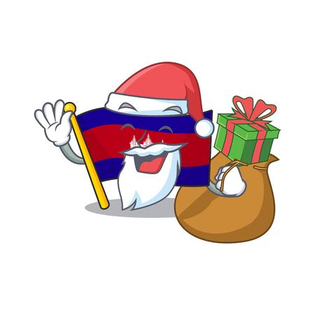 Mascot flag cambodia with in character santa bring gift  イラスト・ベクター素材