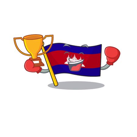 Mascot flag cambodia with in character boxing winner