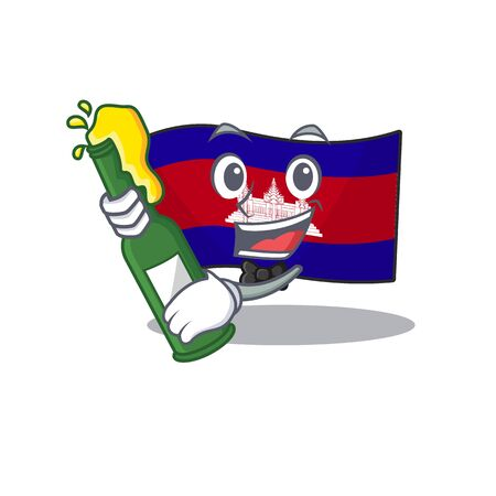 Mascot flag cambodia with in character bring beer