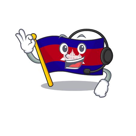 Mascot flag cambodia with in character with headphone