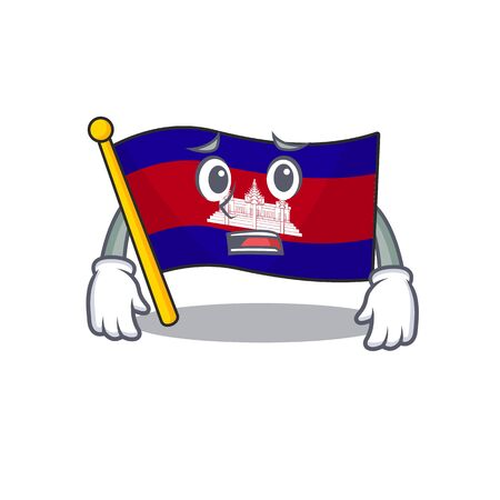 Cartoon flag cambodia isolated in character afraid