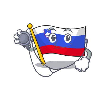 Doctor cartoon flag slovenia in with mascot 일러스트