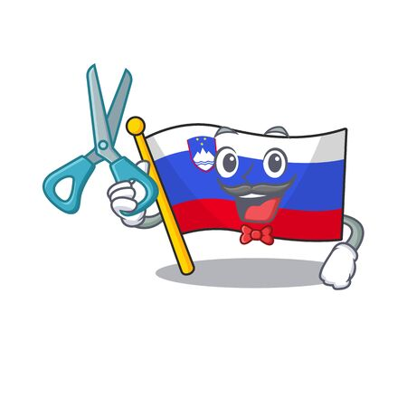 Barber cartoon flag slovenia in with mascot
